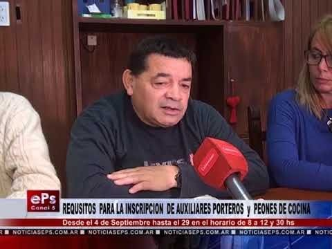 REQUSISTO PARA LA INSCRIPCION PARA AUXILIARES PORTEROS y PEONES DE COCINA