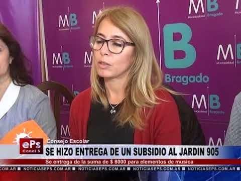 SE HIZO ENTREGA DE UN SUBSIDIO AL JARDIN 905