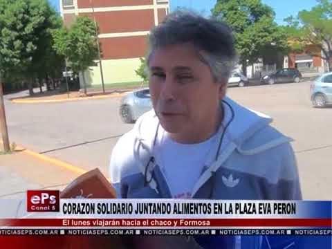 CORAZON SOLIDARIO JUNTANDO ALIMENTOS EN LA PLAZA EVA PERON