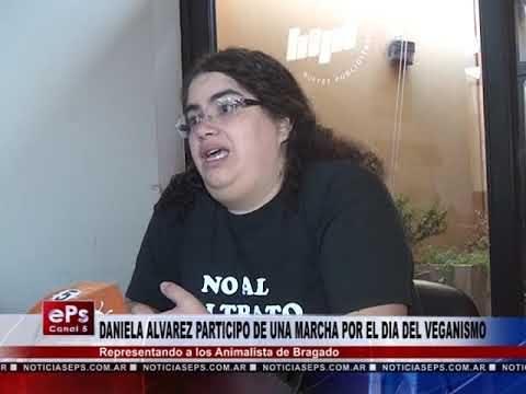 DANIELA ALVAREZ PARTICIPO DE UNA MARCHA POR EL DIA DEL VEGANISMO