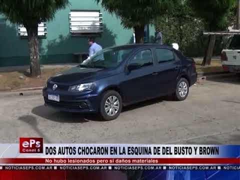 DOS AUTOS CHOCARON EN LA ESQUINA DE DEL BUSTO Y BROWN