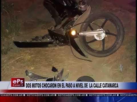 DOS MOTOS CHOCARON EN EL PASO A NIVEL DE LA CALLE CATAMARCA