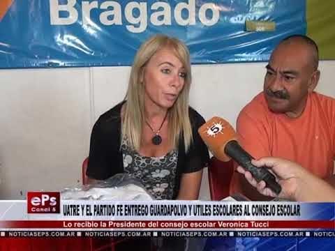 UATRE Y EL PARTIDO FE ENTREGO GUARDAPOLVO Y UTILES ESCOLARES AL CONSEJO ESCOLAR