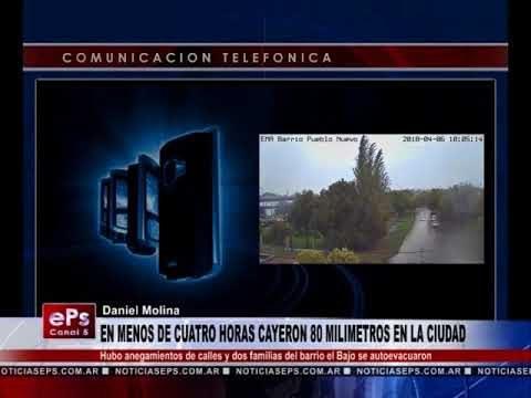 EN MENOS DE CUATRO HORAS CAYERON 80 MILIMETROS EN LA CIUDAD