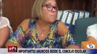 IMPORTANTES ANUNCIOS DESDE EL CONCEJO ESCOLAR