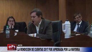 LA RENDICION DE CUENTA 2017 FUE APROBADA POR LA MAYORIA