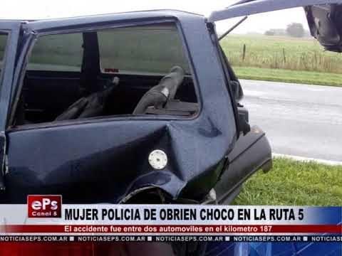 MUJER POLICIA DE OBRIEN CHOCO EN LA RUTA 5