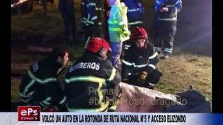 VOLCÓ UN AUTO EN LA ROTONDA DE RUTA NACIONAL N°5 Y ACCESO ELIZONDO