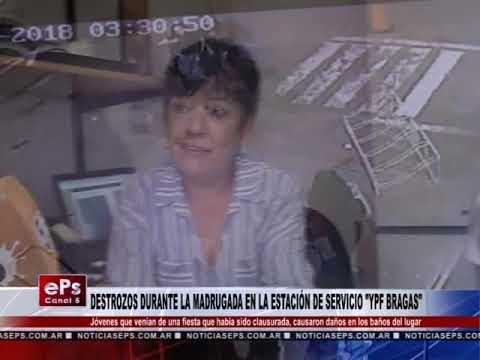 DESTROZOS DURANTE LA MADRUGADA EN LA ESTACIÓN DE SERVICIO YPF BRAGAS