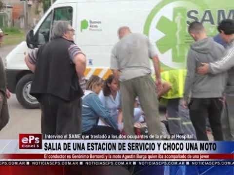 SALIA DE UNA ESTACION DE SERVICIO Y CHOCO UNA MOTO