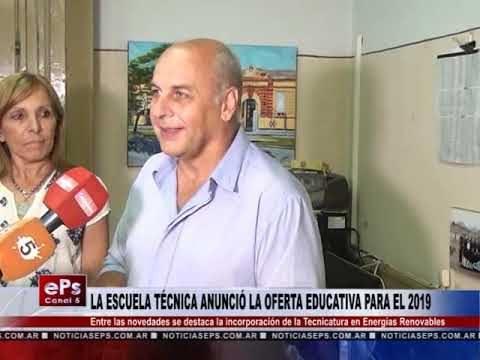 LA ESCUELA TÉCNICA ANUNCIÓ LA OFERTA EDUCATIVA PARA EL 2019