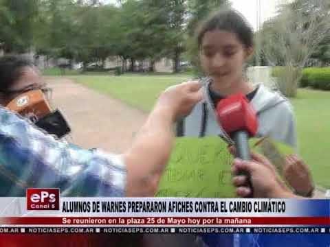 ALUMNOS DE WARNES PREPARARON AFICHES CONTRA EL CAMBIO CLIMÁTICO