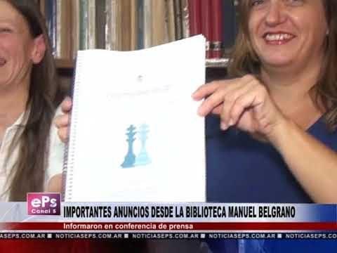 IMPORTANTES ANUNCIOS DESDE LA BIBLIOTECA MANUEL BELGRANO