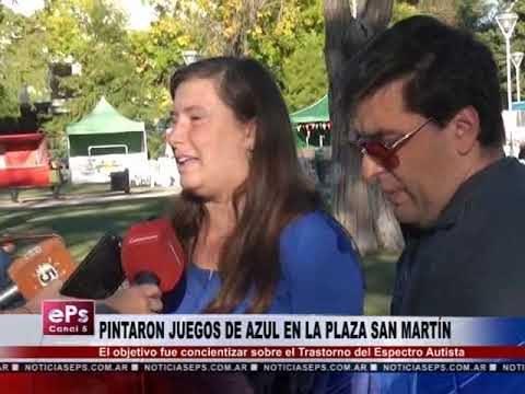 PINTARON JUEGOS DE AZUL EN LA PLAZA SAN MARTÍN