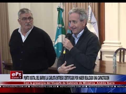 PUNTO DIGITAL DEL BARRIO LA CARLOTA ENTREGO CERTIFICADO POR HABER REALIZADO UNA CAPACITACION