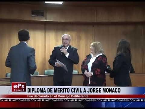 DIPLOMA DE MERITO CIVIL A JORGE MONACO