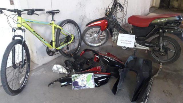 RECUPERARON UNA MOTO Y UNA BICICLETA QUE HABÍA SIDO ROBADA