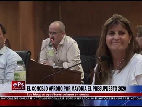 EL CONCEJO APROBO POR MAYORIA EL PRESUPUESTO 2020