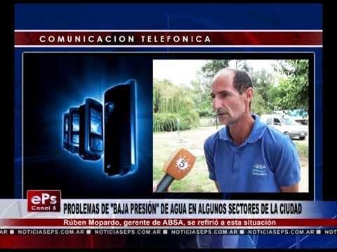 PROBLEMAS DE BAJA PRESIÓN DE AGUA EN ALGUNOS SECTORES DE LA CIUDAD