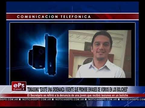 TOMASSINO EXISTE UNA ORDENANZA VIGENTE QUE PROHIBE ENVASES DE VIDRIOS EN LOS BOLICHES